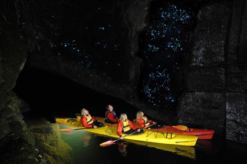Four people in two double kayaks looking at a canyon wall filled with glow worms whilst on a Waimarino Kayak Tour in Tauranga, New Zealand