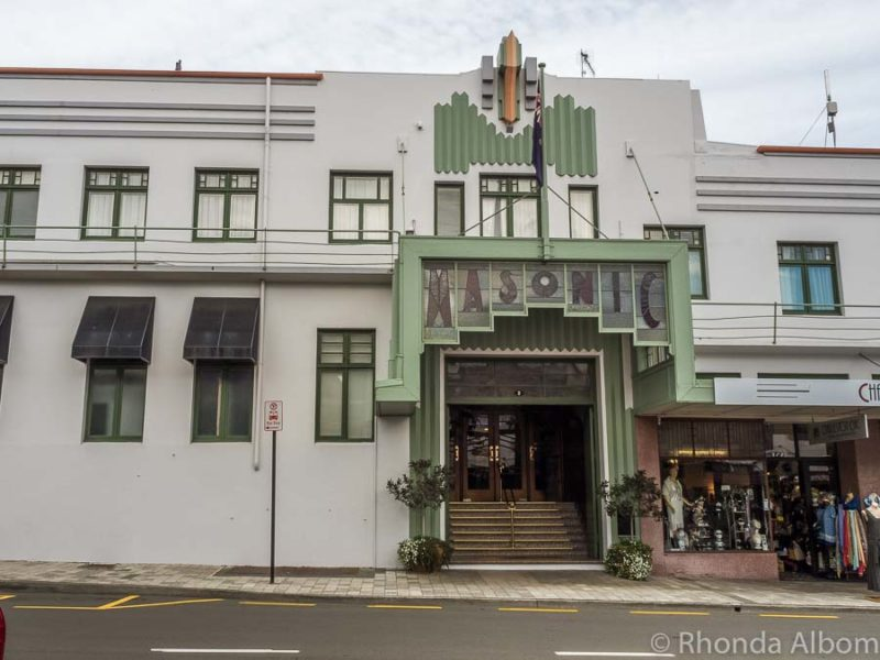 Masonic Hotel seen during the Art Deco walking Tour in Napier New Zealand
