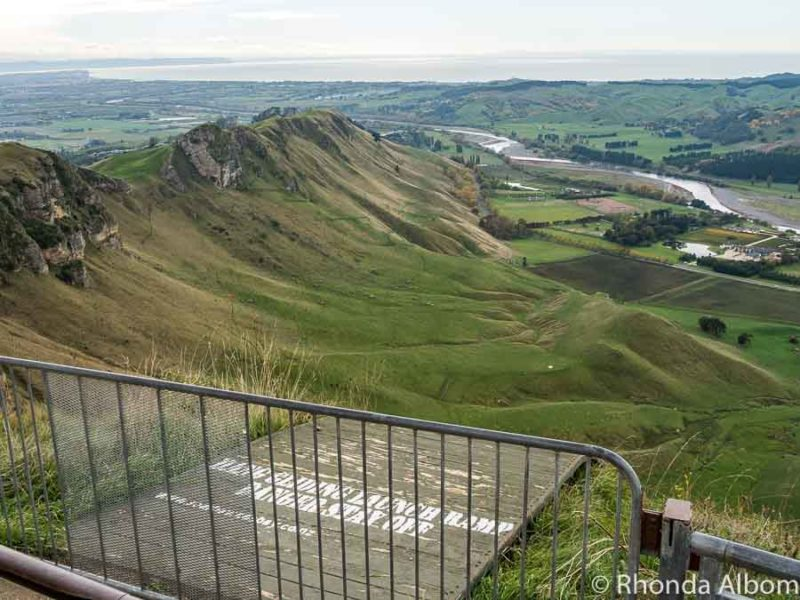 Hang gliding launch ramp seen from Te Mata Peak in New Zealand