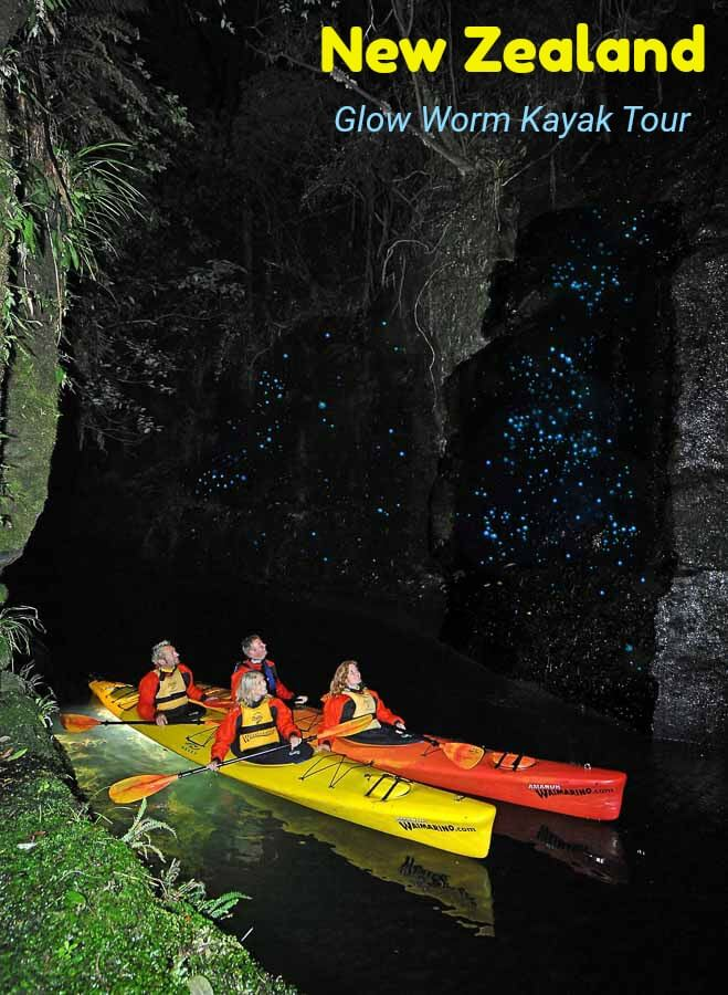 A kayak night tour to see glow worms in New Zealand #travel #Tauranga #BayofPlenty #NewZealand #kayaking #adventure #glowworms #canyon #nightphotography