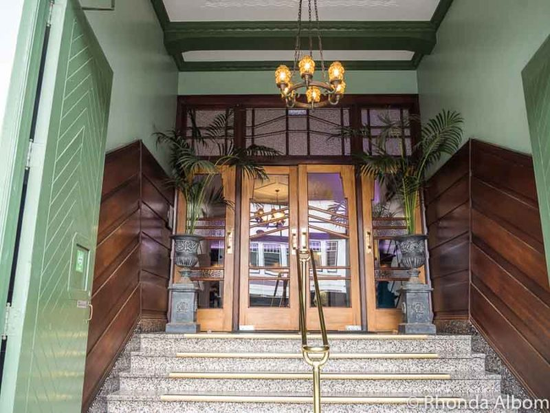 Beautiful art deco front doors at the Masonic Hotel in Napier New Zealand