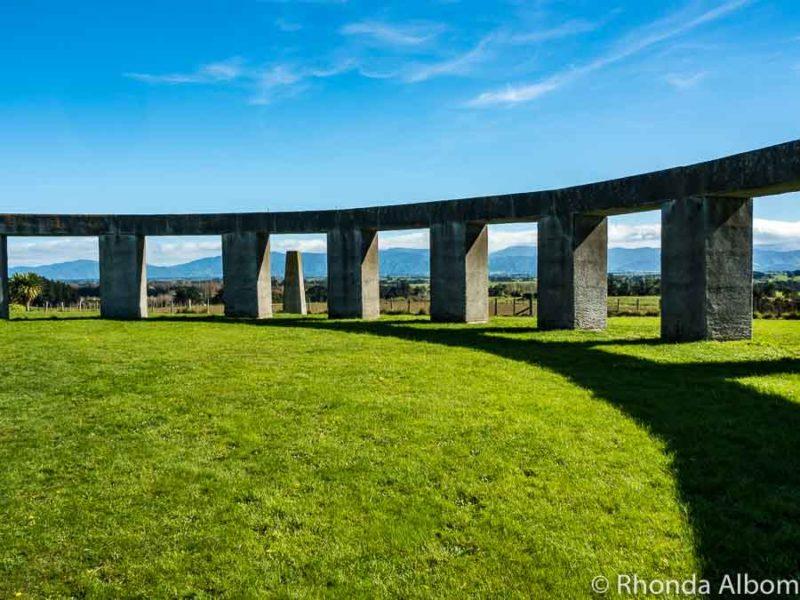 Inside the stone circle at Stonehenge Aotearoa