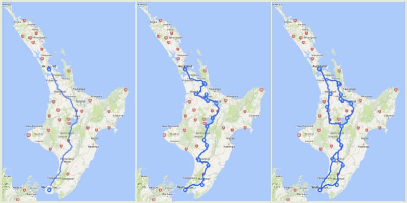 Auckland to Wellington Drive Map Options in New Zealand