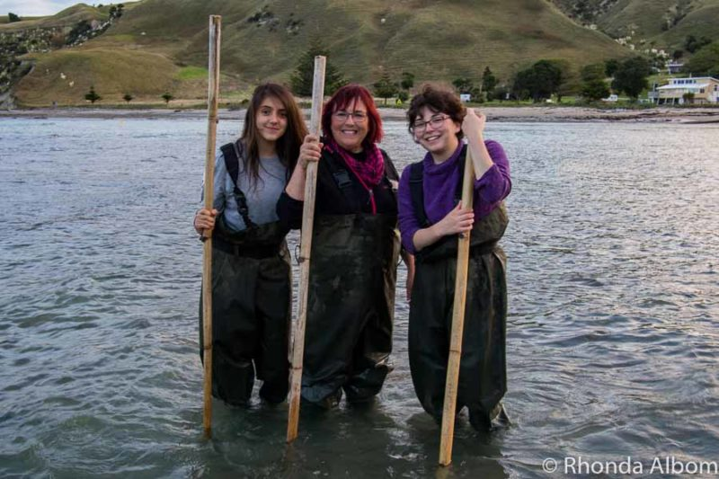 A quick photo of three women while we handfeed stingrays with Dive Tatapouri, Gisborne.