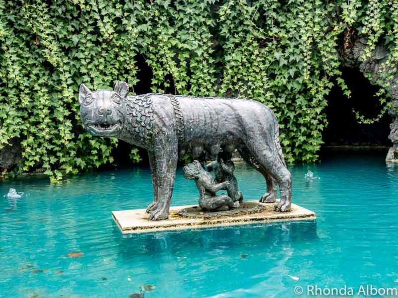 Romulus and Remus Statue in the Italian Renaissance Garden, Hamilton Gardens, Hamilton New Zealand