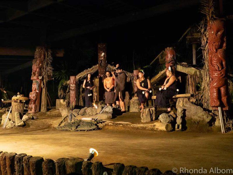 Cultural performance at Mitai Maori Village, Rotorua New Zealand