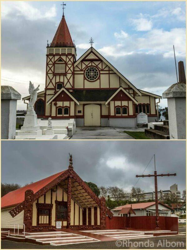 St Faiths Church and the marea at Ohinemutu Living Maori Village in Rotorua New Zealand