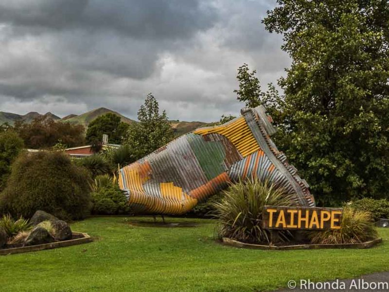 Corrugated gumboot in Taihape, New Zealand