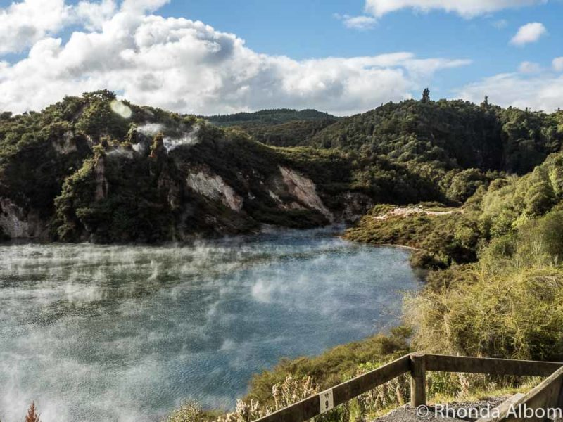 Overlooking Echo Crater and Frying Pan Lake at Waimangu Volcanic Valley, Rotorua New Zealand