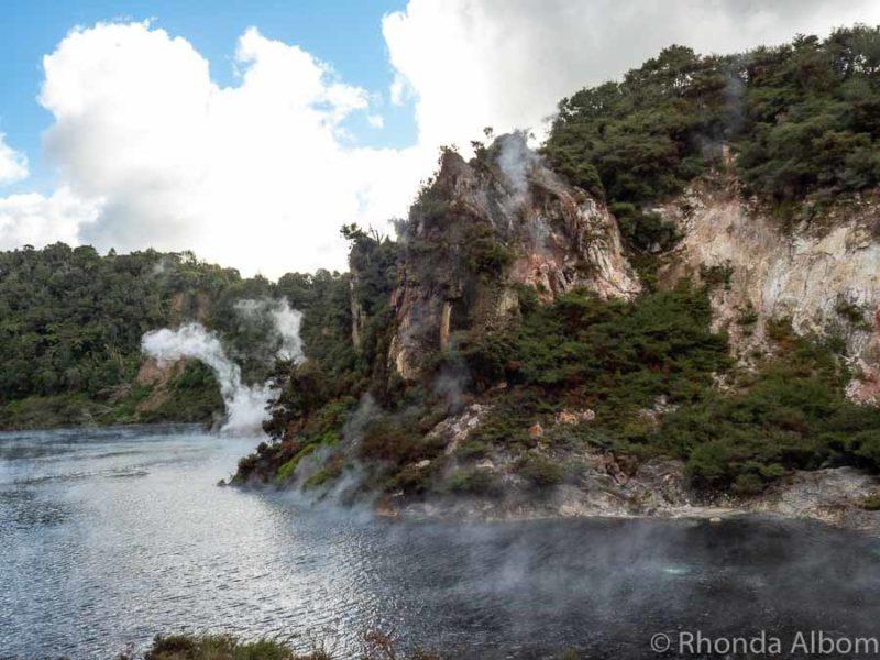 Cathedral Rocks on Echo Crater and Frying Pan Lake at Waimangu Volcanic Valley, Rotorua New Zealand