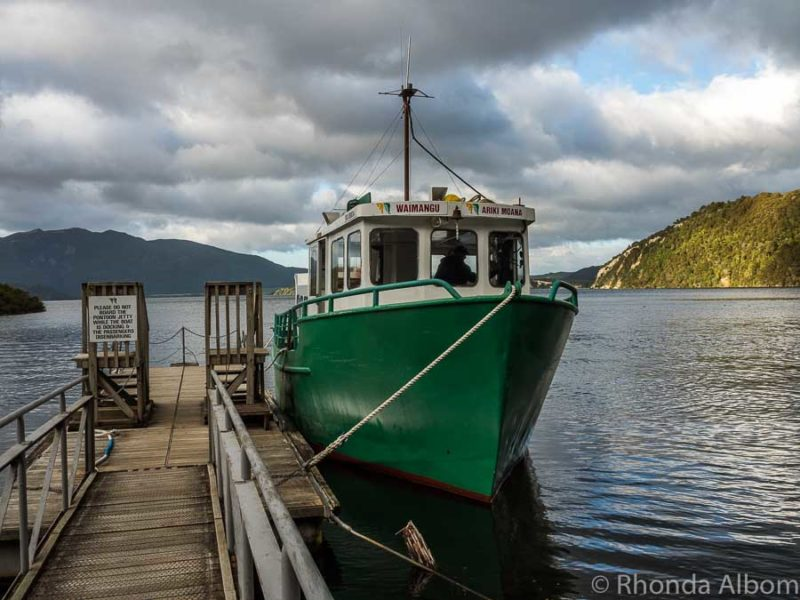 The boat on Lake Rotomahana at Waimangu Volcanic Valley, Rotorua New Zealand