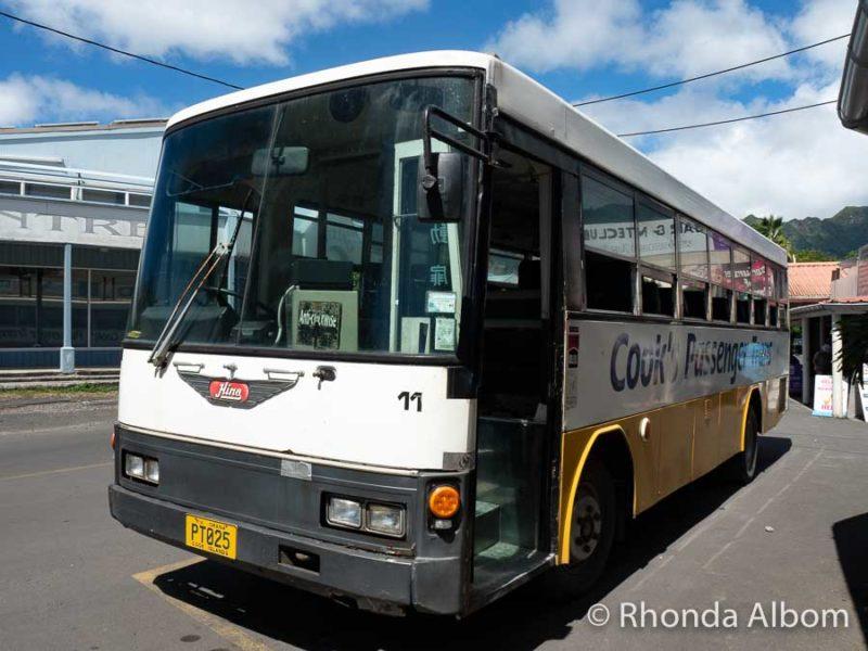 A public Rarotonga bus at the main stop in Avarua.
