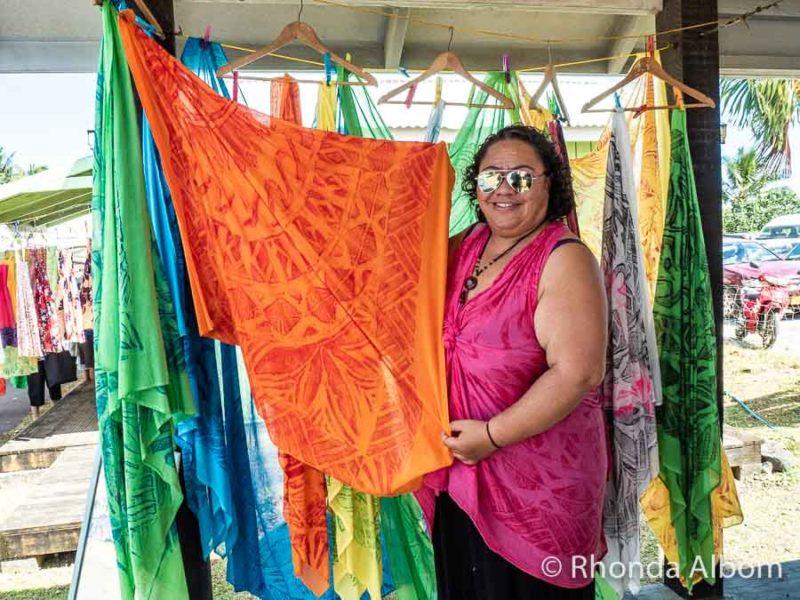 A sarong at Punanga Nui Market in Avarua, Rarotonga, Cook Islands