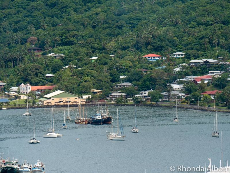 Pago Pago harbour seen from Aerial Historic Tramway in Utulei on American Samoa.