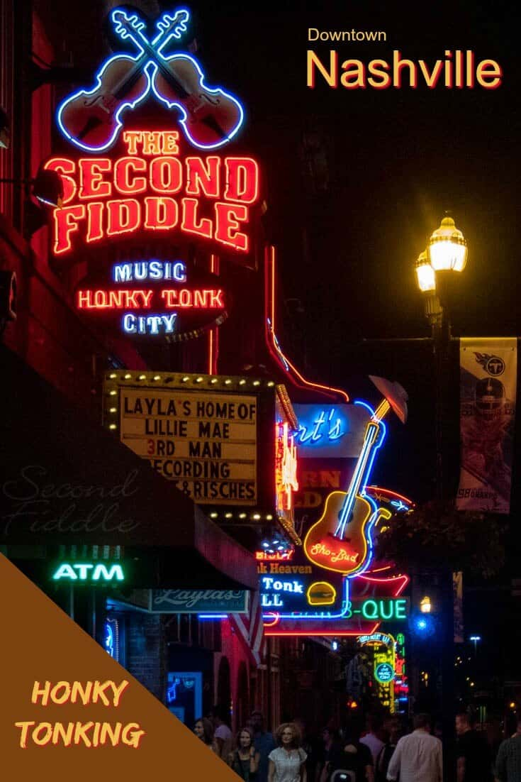 Honky Tonks like the street in Nashville Tennessee. There is so much to see and do, and never enough time. With this guide, you can discover the best things to do in Nashville in a day, or at night. #travel #USA #Tennessee #Nashville #MusicCity #Countrymusic #GrandOleOpre #visitnashville