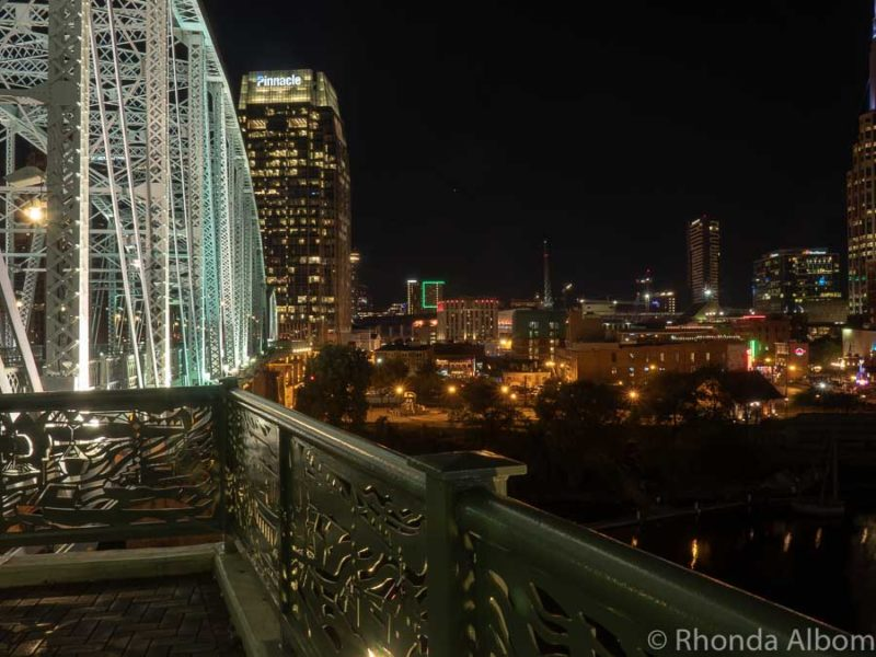 Nashville skyline at night from John Seigenthaler Pedestrian Bridge in Tennessee