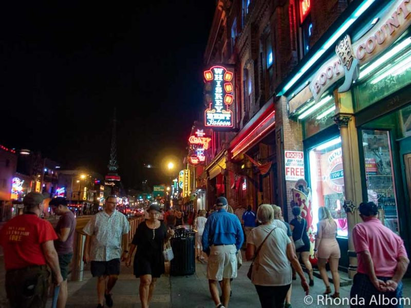 Honky Tonks along Broadway at night in Nashville Tennessee