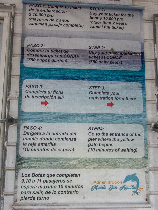 Instructions for getting tickets to Isla Damas.