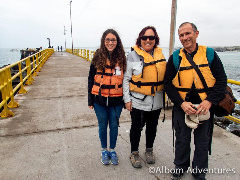 Wearing life jackets at the Pier at Punta de Choros, Chile