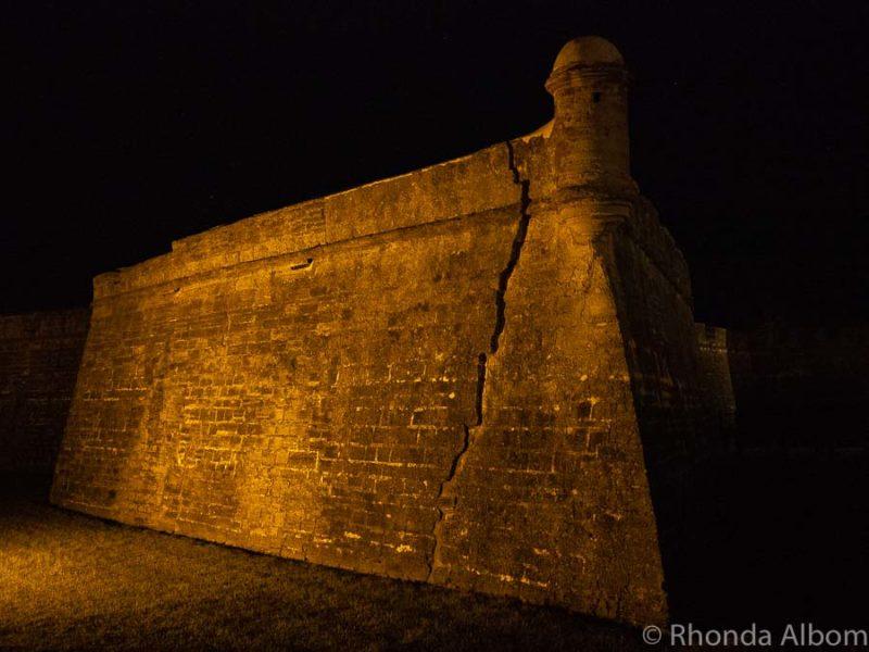 Castillo de San Marcos at night in St Augustine Florida