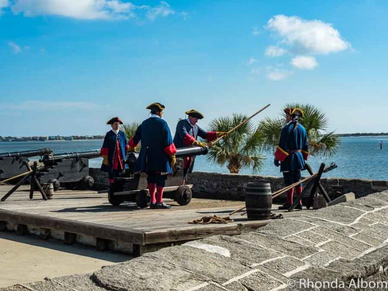 Cannon demonstration at Castillo de San Marcos in St Augustine Florida