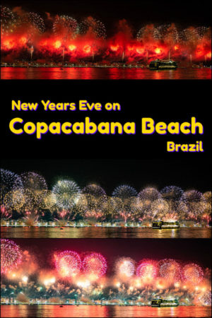 Fireworks cover Copacabana Beach while 2 million people are onshore in Rio de Janeiro for New Year's Eve.