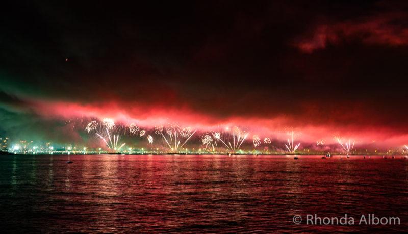 New Years Eve fireworks in Rio de Janeiro Brazil