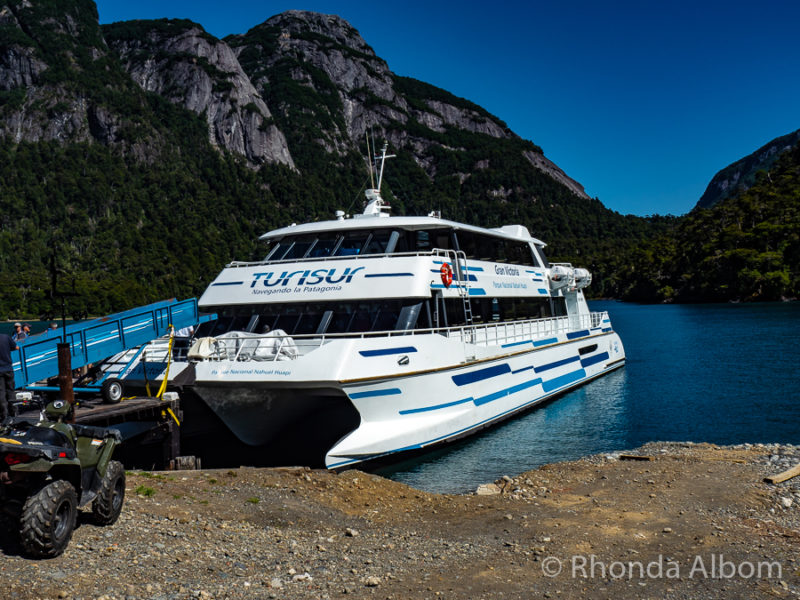 The Gran Victoria from Cruce Andino docked at Puerto Blest on Nahuel Huapi Lake in Argentina