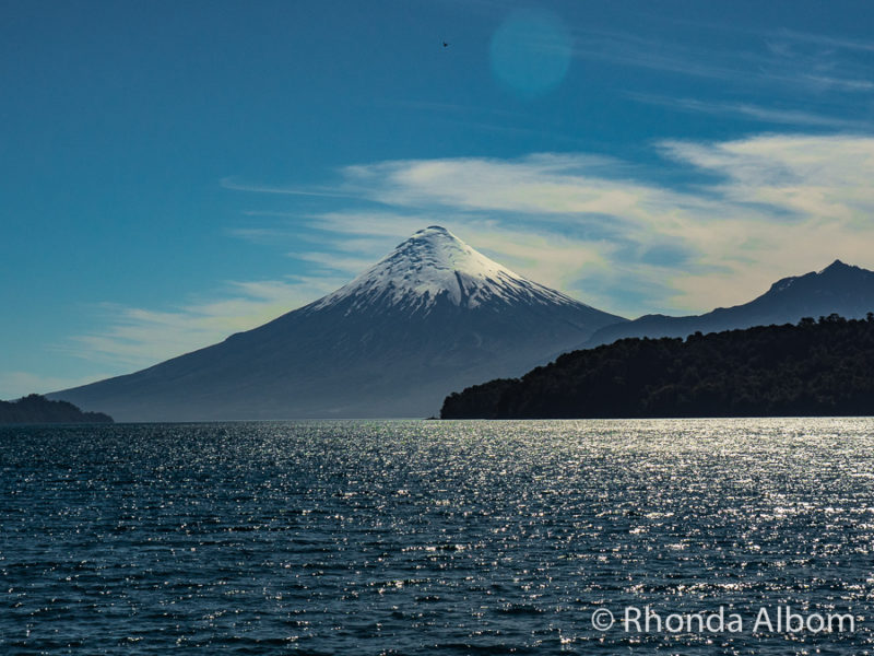 Osorno Volcano seen from Lago Todos Los Santos in Chile on Cruce Andino