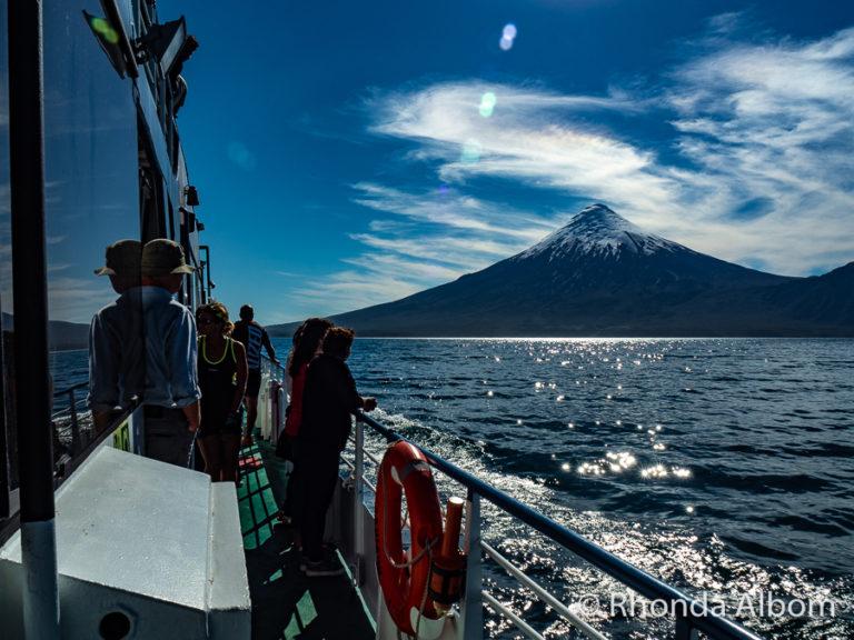 Osorno Volcano seen from Lago Todos Los Santos in Chile on Cruce Andino