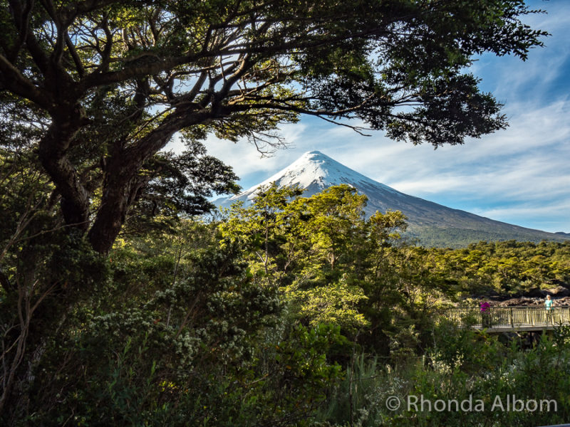 Osorno Volcano seen from Petrohue Falls in Chile with Cruce Andino