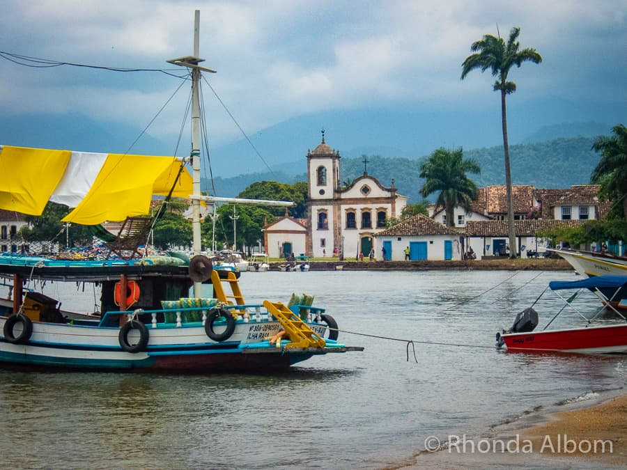 Colourful boats in the port of Paraty Brazil