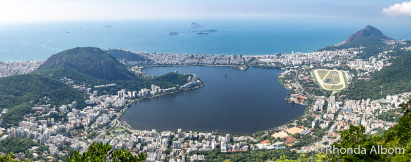 One of the stunning views from the top of Corcovado mountain home of the Christ the Redeemer towering over Rio de Janeiro Brazil
