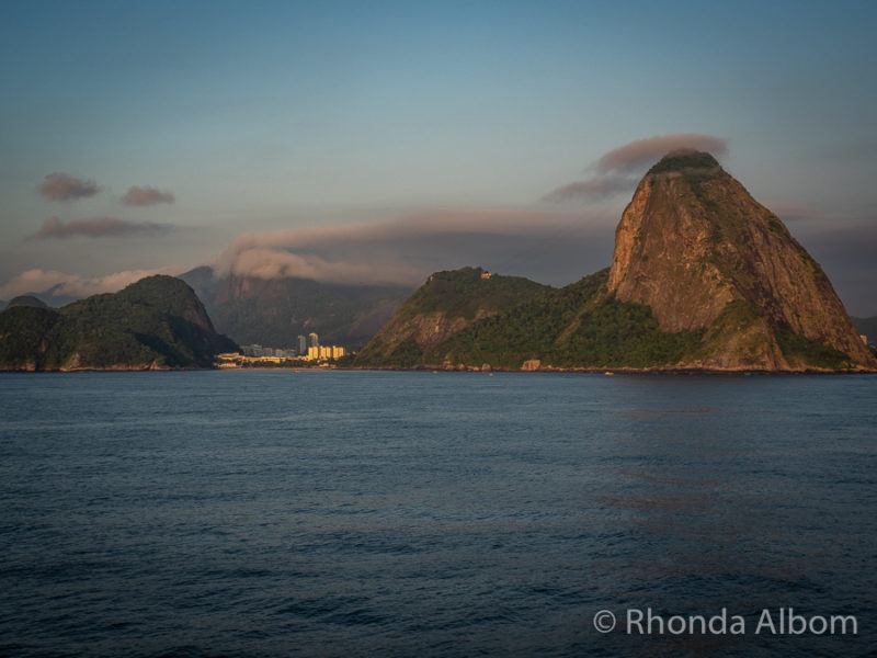 View of Sugarloaf mountain as we sailed into Rio de Janeiro Brazil