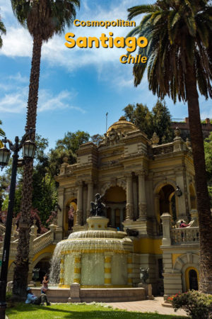 Visiting the Fountain and statue of Neptune on Santa Lucia Hill in Santiago is one of the many things to do in Santiago Chile.