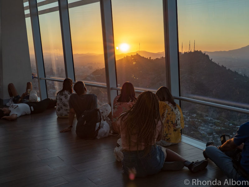 Watching the sunset from Sky Costanera in Santiago Chile
