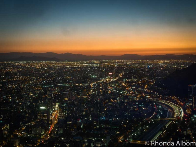 City lights seen from Sky Costanera in Santiago Chile