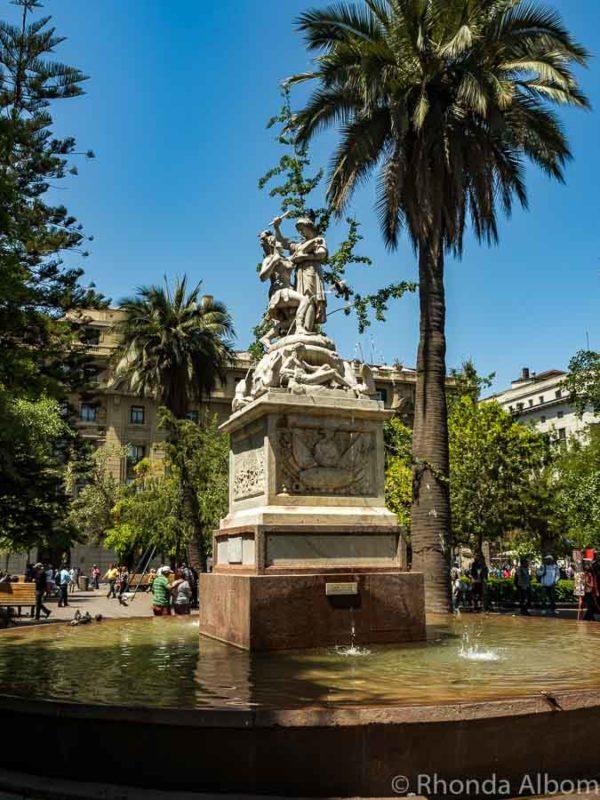 Fountain in in Plaza de Armas, Santiago Chile