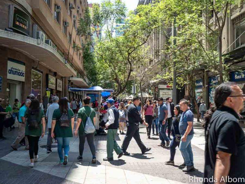 Pedestrian streets near Plaza de Armas, Santiago Chile