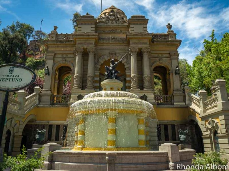Fountain and statue of Neptune on Santa Lucia Hill in Santiago Chile
