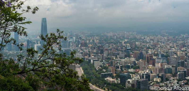 View on a foggy day from San Cristobal Hill in Santiago, Chile
