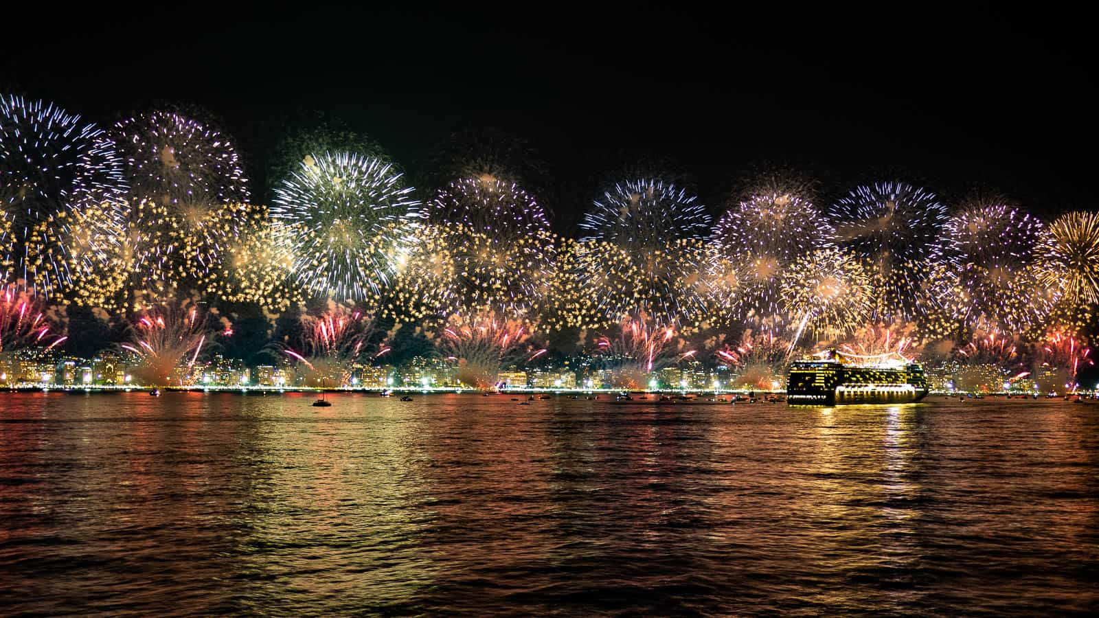 Fireworks on Copacabana Beach on New Years Eve in Rio de Janeiro Brazil
