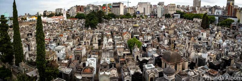 Recoleta Cemetery Buenos Aries Argentina viewed from a balcony on the surrounding street