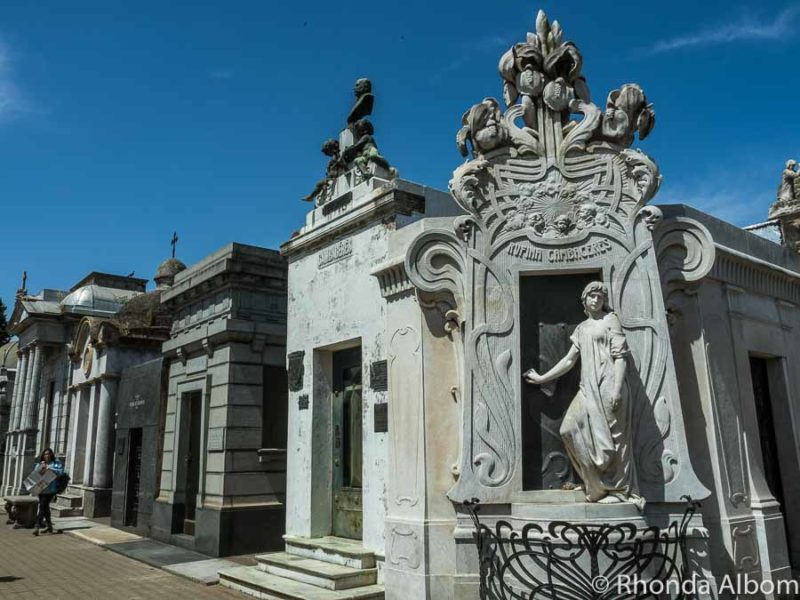 Rufina Cambacers is opening the gate to eternity on her tomb inside the Recoleta Cemetery in Buenos Aires