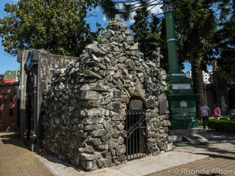Thomas Guido mausoleum made of stones from Andes mountains and has never leaked during rain in Recoleta Cemetery in Buenos Aires Argentina