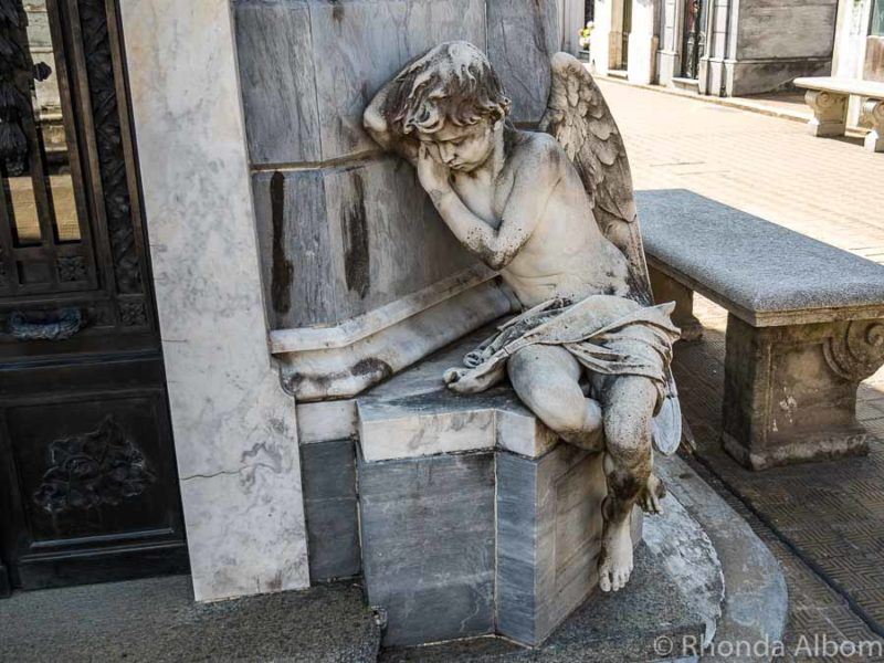 Most photographed angel in Recoleta Cemetery in Buenos Aires Argentina