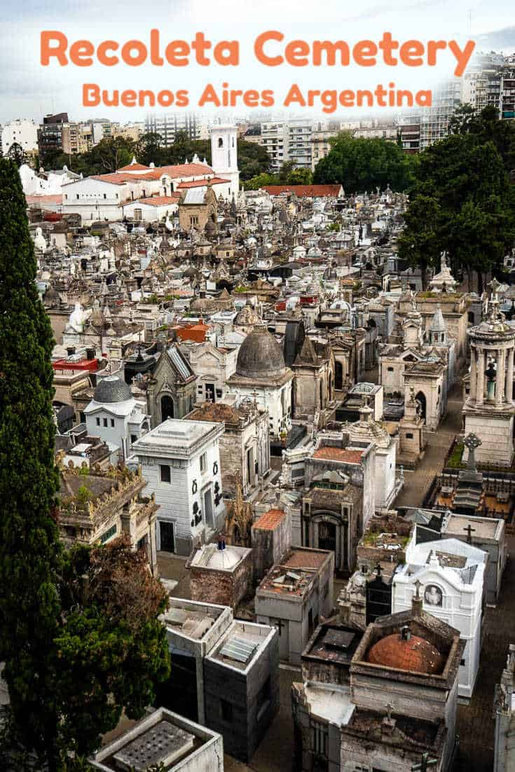 One of the world's most beautiful cemeteries, visiting the Recoleta Cemetery in Buenos Aires Argentina is like going to an outdoor art exhibition. #travel #argentina #buenosaires #cemetery #recoleta #recoletacemetery
