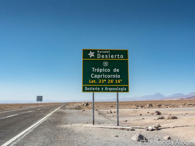 Tropic of Capricorn sign in the Atacama Desert