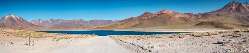 Laguna Miscanti is a high elevation lake in the Atacama desert Chile