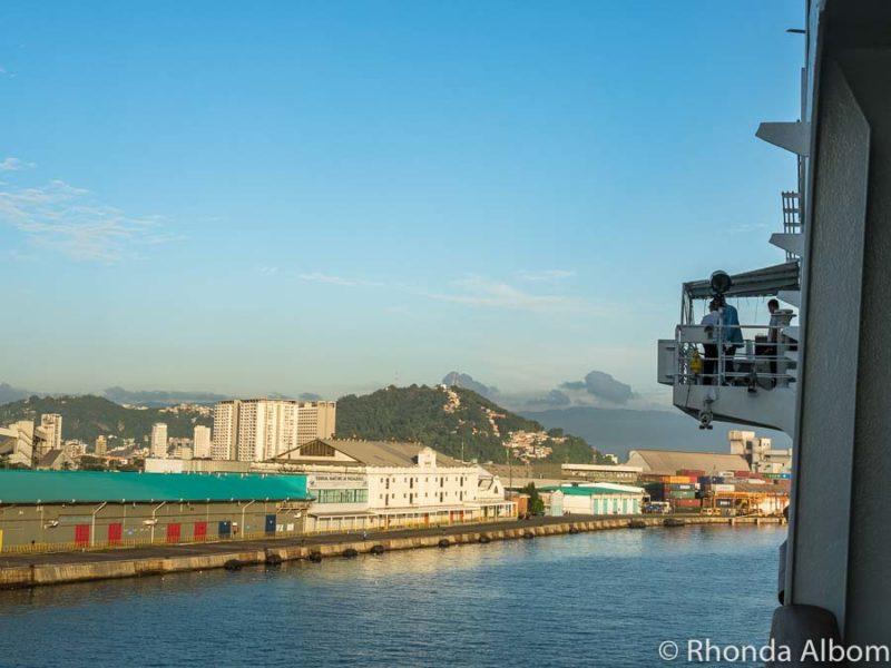 Cruising into Santos port Brazil